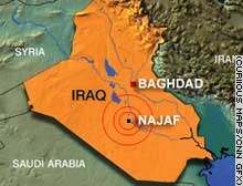 Najaf lies about 95 miles south of the Iraqi capital, Baghdad.