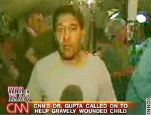 CNN's Dr Sanjay Gupta reporting by videophone from the 'Devil Docs' field hospital.