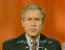 Bush's address is part of a Pentagon-produced nightly presentation aimed at Iraqis.