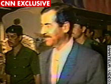 Saddam Hussein attends a party for his 50th birthday in 1987.