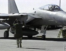 A U.S. fighter jet at Prince Sultan Air Base in Saudi Arabia