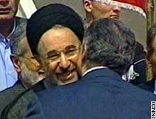 Khatami is greeted after arriving in Lebanon Monday.