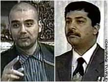Uday, left, and Qusay Hussein were killed July 22 by U.S. forces in Mosul, Iraq.