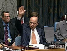 John Negroponte, the U.S. ambassador to the United Nations, casts the lone vote against the Security Council resolution.