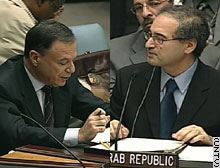Israeli ambassador Dan Gillerman, left, answered charges from Syrian ambassador Fayssal Mekdad at an emergency session of the Security Council Sunday.