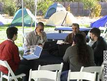 Foo Camp participants roughed it in tents, but they still had wireless Internet access.