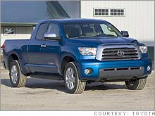 The new Toyota Tundra, the company's first entry into the full-size pickup market, which will be built at its newest plant.