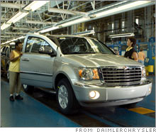 Unionized Chrysler assembly line in Newark, Del., that is slated for closure. Detroit automakers are reportedly looking beyond staff cuts and plant closings to trim losses and plan to seek deep cuts in wage and benefits costs.