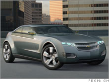 The Chevy Volt, a GM fuel-cell concept car. The automaker is shifting employees in an effort to start production of a fuel-cell car by 2010.