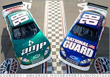 Dale Jr. will split his races between cars of his two new primary sponsors, Mountain Dew's Amp energy drink and the Army National Guard.
