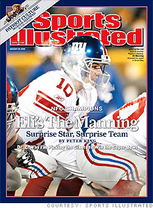 Eli Manning's appearance on the cover of Sports Illustrated last week won't be a curse to his efforts to do more commercials.