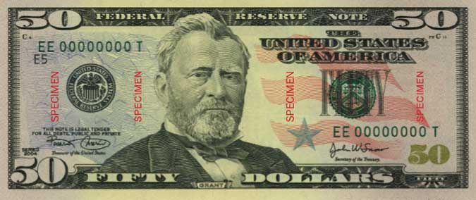 American fifty dollar bill.